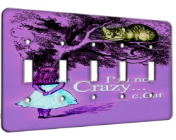 Alice in Wonderland Im Not Crazy - 5 Gang Switch Plate