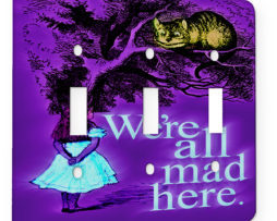 Alice in Wonderland Mad Chesire Quote - 3 Gang Switch Plate