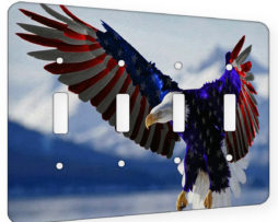 American Eagle Flag - 4 Gang Switch Plate