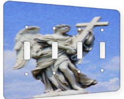 Angel With Cross - 4 Gang Switch Plate