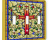 Cross Stain Glass Blue Bells - 3 Gang Switch Plate