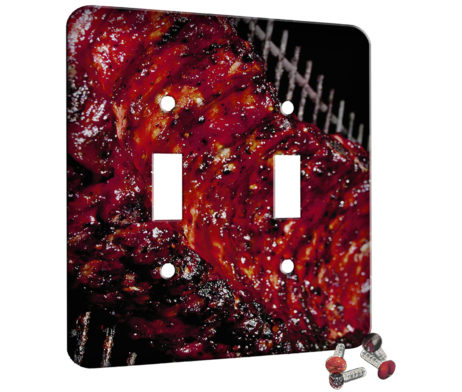 Grilled Ribs Yum - 2 Gang Switch Plate