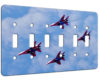 Jets Of Red White And Blue - 6 Gang Switch Plate