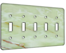 Light Green Onyx - 5 Gang Switch Plate
