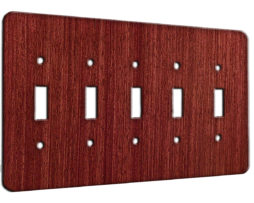 Mahogany Straight Grain - 5 Gang Switch Plate