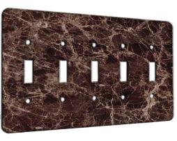 Marble Emperador - 5 Gang Switch Plate