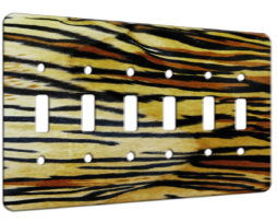 Tiger Print Abstract - 6 Gang Switch Plate