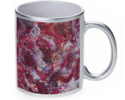 Agate Crazy Lace Red - 11 oz. Silver Sparkle Coffee Mug
