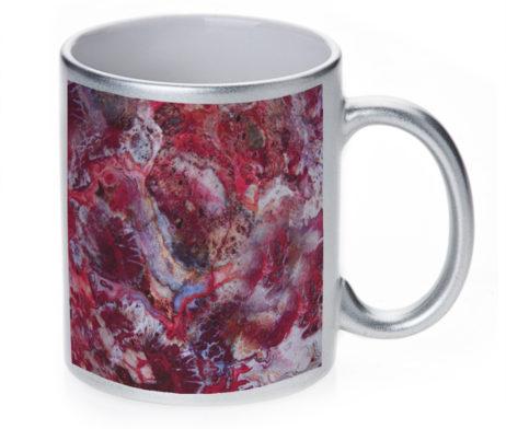 Agate Crazy Lace Red - 11 oz. Silver Sparkle Coffee Mug
