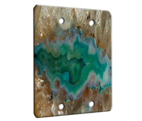 Agate Crystal Turquoise - 2 Gang Blank Wall Plate Cover