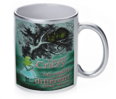 Alice in Wonderland Chesire Cat - 11 oz. Silver Sparkle Coffee Mug