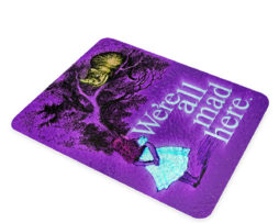 Alice in Wonderland Mad Chesire Quote - Glass Cutting Board