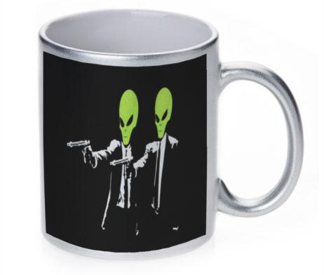 Alien Pulp Fiction - 11 oz. Silver Sparkle Coffee Mug