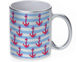 Anchors n Stripes - 11 oz. Silver Sparkle Coffee Mug