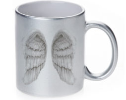 Angel Wings - 11 oz. Silver Sparkle Coffee Mug