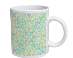 Arabesque Eastern Pattern - 11 oz. White Coffee Mug
