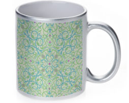 Arabesque Eastern Pattern - 11 oz. Silver Sparkle Coffee Mug