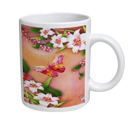 Butterfly Blossoms - 11 oz. White Coffee Mug