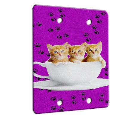 Kitten Teacup Cuties - 2 Gang Blank Wall Plate Cover