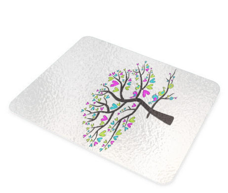 Tree of Hearts - Glass Cutting Board