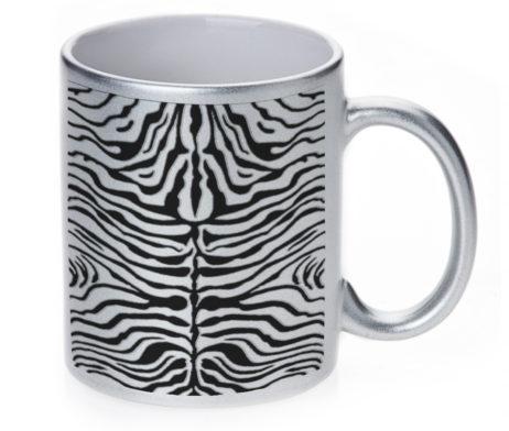 Zebra Skin - 11 oz. Silver Sparkle Coffee Mug